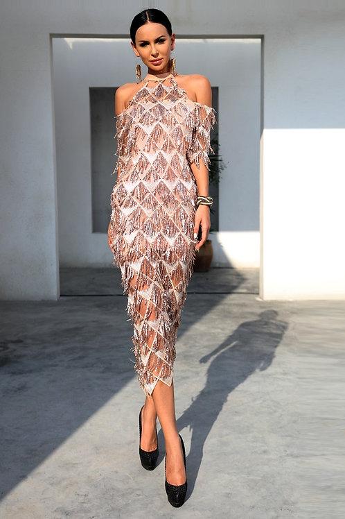 Lana Beige Knee Length Dress