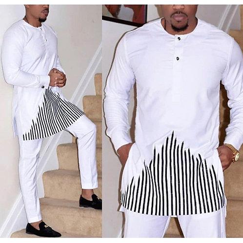 African style No Cap Shirt Pants Set Embroidery Tops Trouser Suit Men