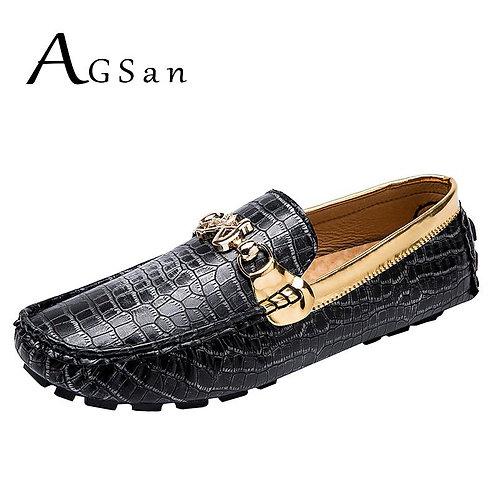 Luxury Brand Loafers Gold Moccasins Italian  Slip on Footwear