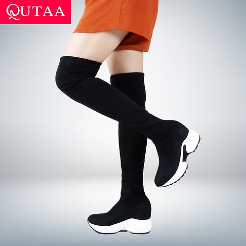Over the Knee Boots Height Increasing Round Toe boots