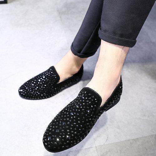 Italian Men Shoes Dress Social Shoes Elegant High-End Custom Rhinestone  Shoes