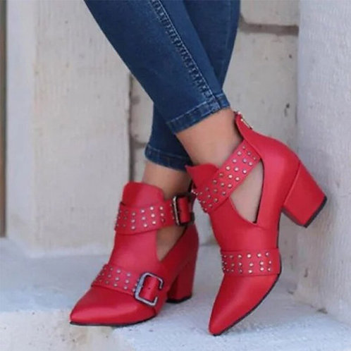 Women's Pointed Toe Leather Ankle Boots
