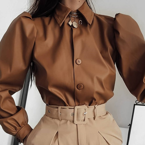 Leather Blouse Women Long Sleeve Puff Blouse Vintage