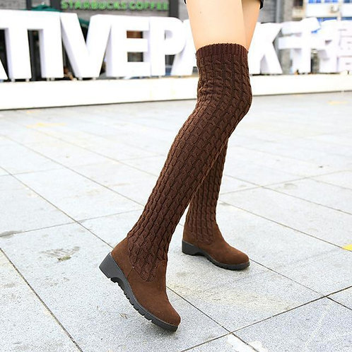 Thigh High Boots for Woman Shoes- Knitting Wool Brown/Black Boot Ladies Shoes