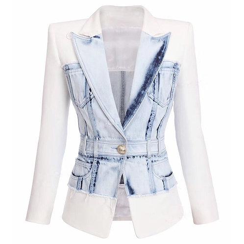 Blazer Single Button Denim Patchwork Jacket Blazer