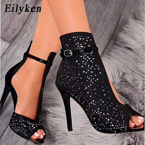 Crystal Sandals Ankle Straps Buckle Transparent Cover Heel Pumps