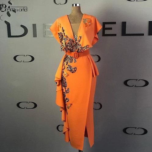 Sequins Sheath Formal Dress Orange Cap Sleeve Long Midi Calf Ankle-Length