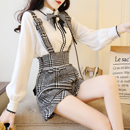 Sweet Bow Pearl Chiffon White Blouse+Plaid Wool Suspender Short Set 2 Pcs