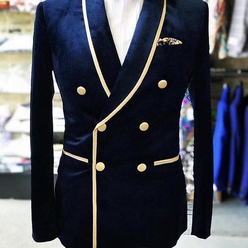 Double-Breasted Shawl Lapel Nvay Velvet Wedding Groom Tuxedos