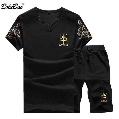 Sleeve Sportswear Slim Fit Elastic Tracksuit T Shirt + Shorts Sets Male