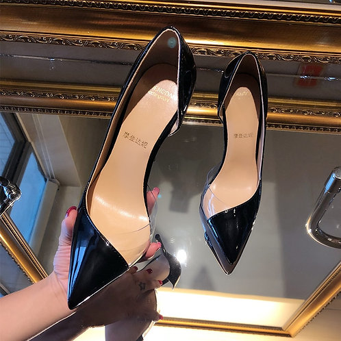 Nude Transparent Stitching Point Toe High Heels Party Shoes Bride Wedding Shoes