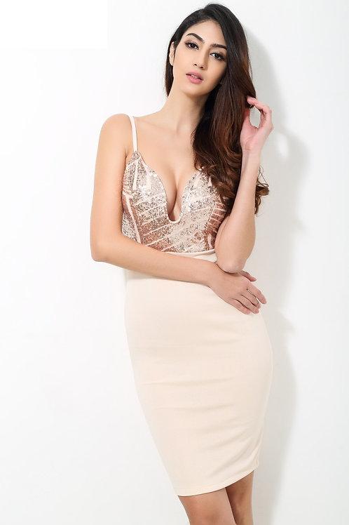 Beige Sequin v Neck Plunge Party Dress