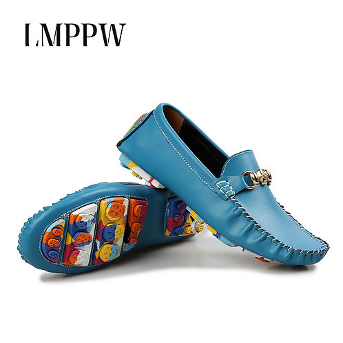 New 2020 Genuine Leather Fashion Trend Slip on Loafers Luxury Brand Flats Soft