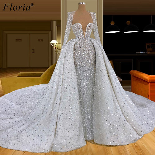 Crystals Bling Two Pieces Evening Gowns Heavy Handmade Celebrity Dress