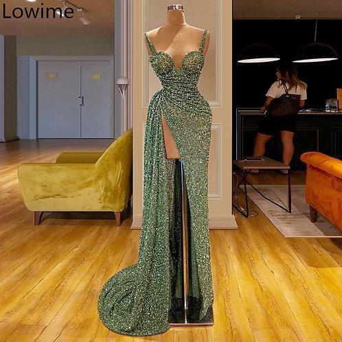 Elegant Matcha Green Long Cocktail Dress