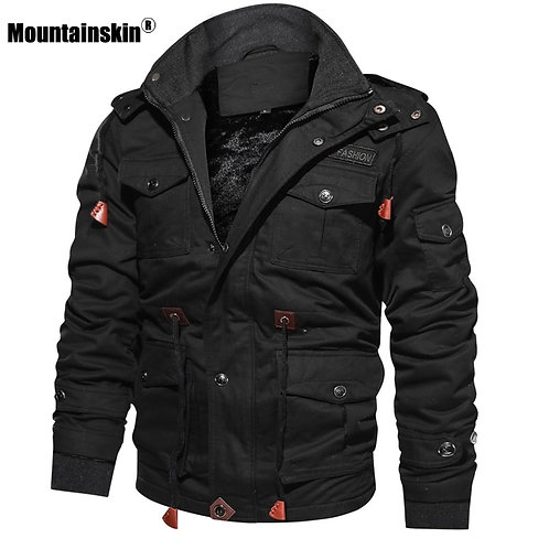 Winter Fleece Warm Hooded Coat Thermal Thick Outerwear  Military Jacket