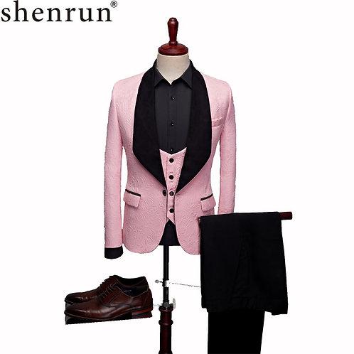 Mens Fashion Big Shawl Lapel 3 Pieces Set Pink Red Blue White Black
