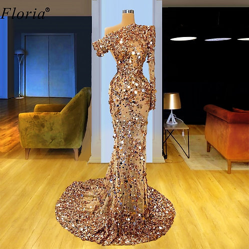 Luxury Sparkly Champagne  Sequins Illusion Arabic Evening Gowns One Shoulder
