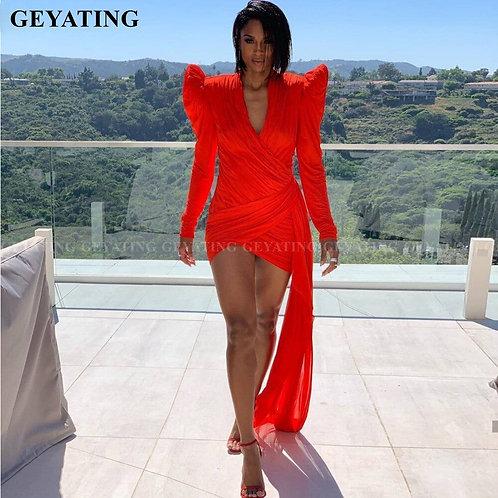 Red Long Sleeves  Short Slim Dress