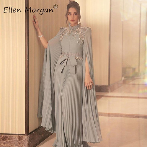 Arabic Muslim Silver Chiffon Long Evening Dress