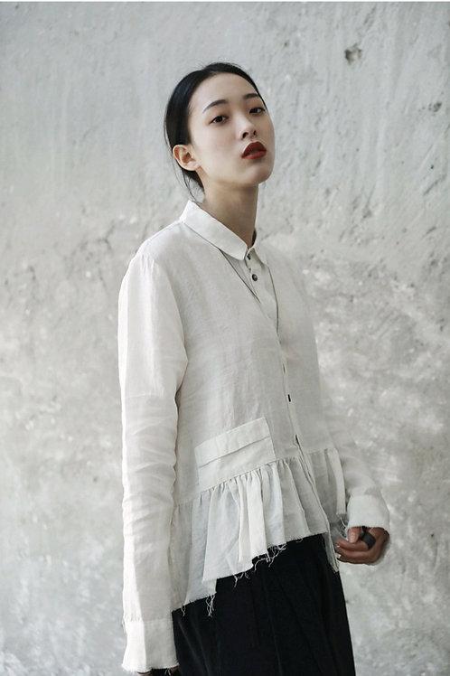 Chiyoko Long Sleeve Ruffles Shirt - White