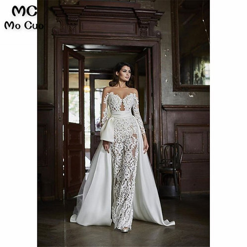 Luxuries Illusion  Jumpsuit  Long Sleeves With Appliques Lace Evening Gown