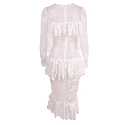 White See Through Midi Dress