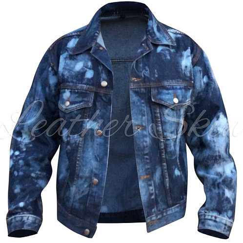 Leather Skin Men Blue Denim Jacket