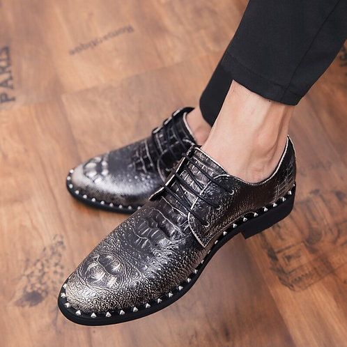 Pointed Toe Men Leather Shoes Lace Up Breathable Fashion Bright Shoes