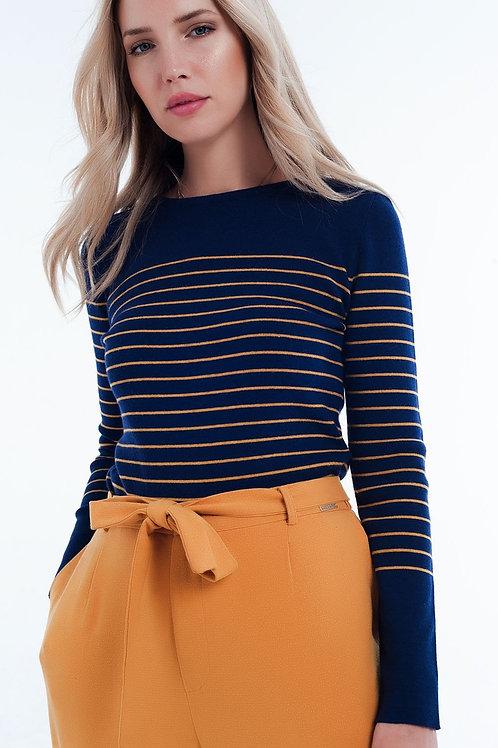 Navy Striped Round Neck Sweater