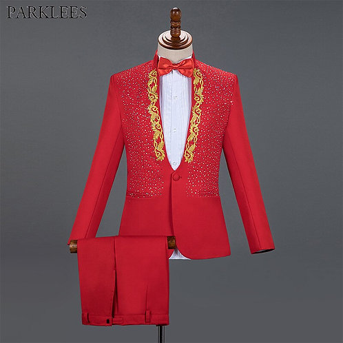 Red Men Suits for Wedding Gold Embroidered Diamond Groom Costume
