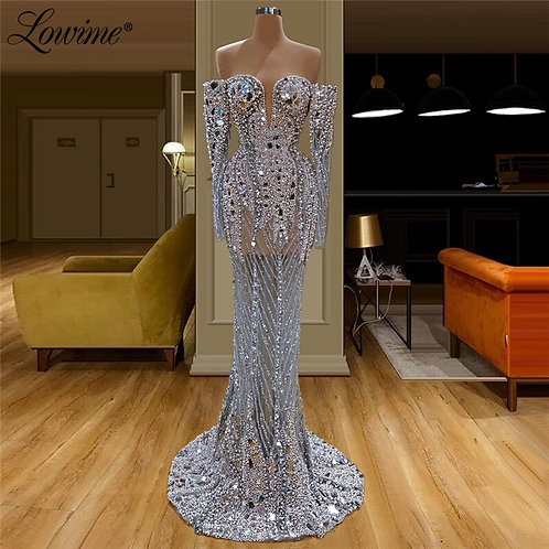 Illusion Full Beaded Evening Dress Handmade Pearls Crystals See Through Dress