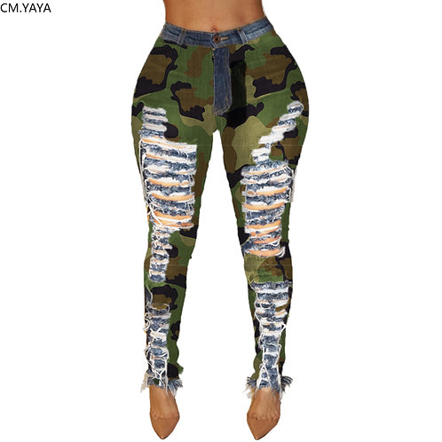 Female Denim Pants Women Skinny Hole Spliced Camouflage Print Jeans