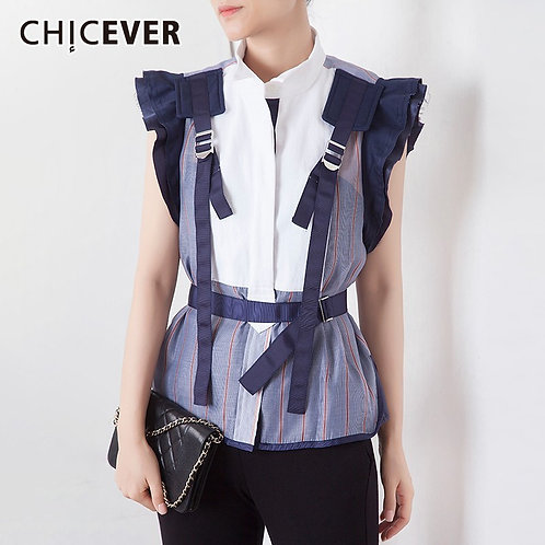 Striped Blouse Stand Collar Butterfly Sleeve Patchwork Sashes Slim Short Shirt