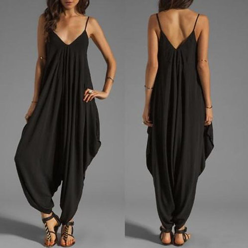 Casual Sleeveless Deep v Neck Jumpsuit Plus Size Summer Spaghetti Strap Rompers