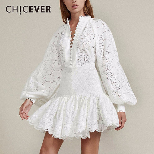 Sexy Hollow Out Two Piece Sets Lantern Sleeve High Waist Patchwork Lace skirt