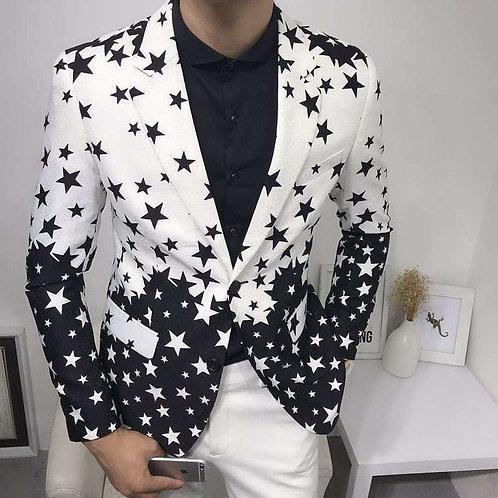 Star Print Slim Fit Suit blazer