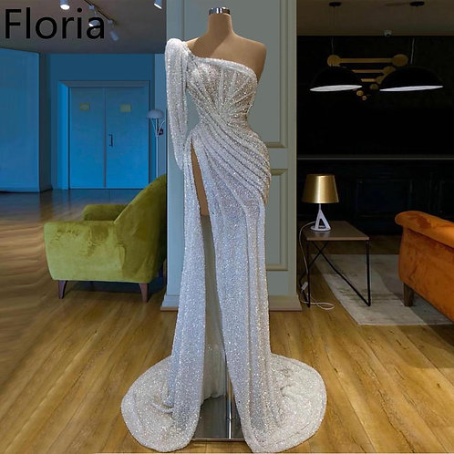 Dubai Style White Glitter One Shoulder Muslim Mermaid Evening Party Gown