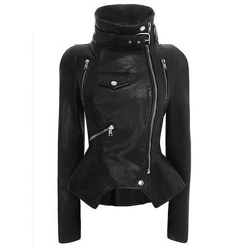 Tide Motorcycle Style Leather Jacket Female High Collar PU Coats Women Outerwear
