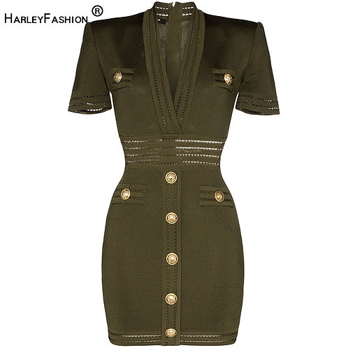 Summer Trendy Solid Army Green Fitness Dress Buttons V-Neck Skinny Straight
