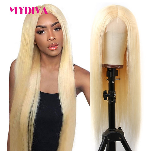 Glueless 613 Blonde Lace Front Brazilian Straight Pre Plucked Remy Wig 13*1 150%