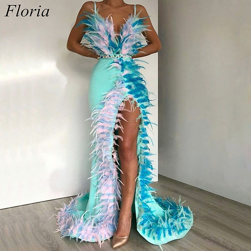 Long High Side Split Spaghetti Sleeveless Feathers Evening Red Carpet Gowns