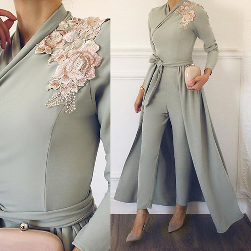 Gala Appliques Satin A-Line Pants Prom Dress Formal Party Gowns