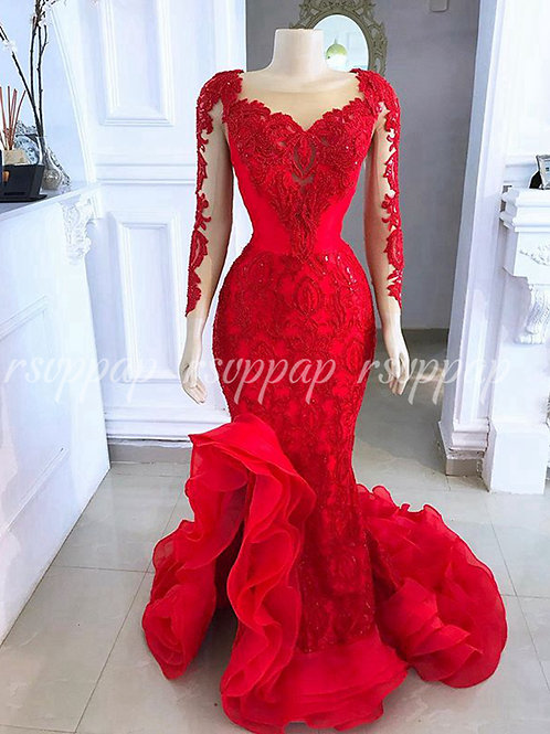 Elegant Sexy Mermaid  Sheer Long Sleeve Red Lace Ladies Formal Party Gowns