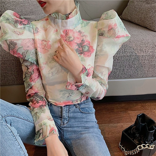 Elegant Casual Ruffle Blouse Turtleneck Puff Long Sleeve Tunic Ruched top