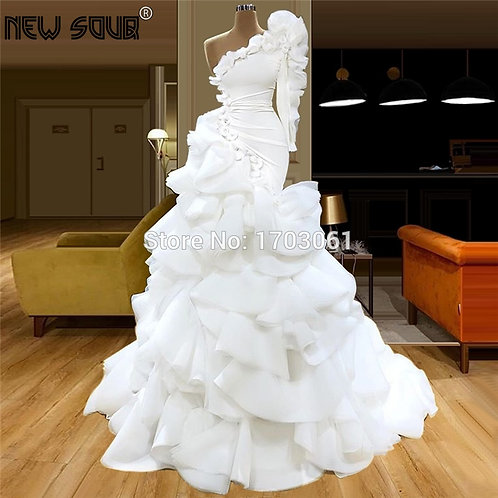 Elegant White Tiered Fashionable Custom Celebrity Party Gown  Robe De Soiree