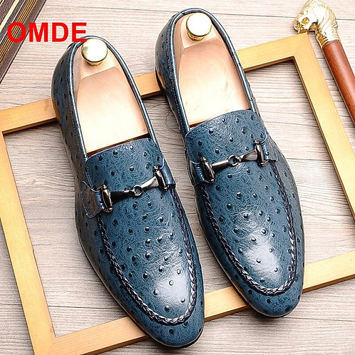 OMDE Italian Mens Loafers Leather  Wedding Party Formal Suit Shoe Men