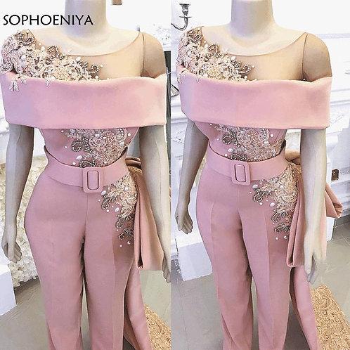 Luxury Long Mermaid Pink Beaded Crystals Elegant Jumpsuit for formal events