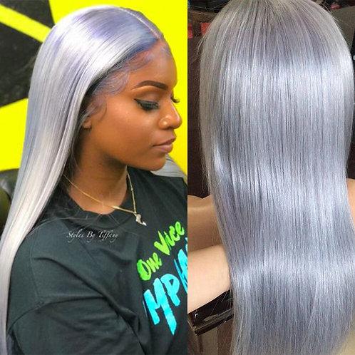 13x6 Ash Grey 150% Brazilian Remy Hair Pre Plucked Straight  wig