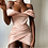 Thumbnail: Off the Shoulder Rouched Mini Dress Celebrity Satin Pink Birthday Club Outfit